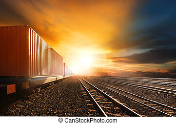 産業, 容器, 列車, 動くこと, 上に, 鉄道, トラック, に対して, 美しい, 太陽 セット, 空, 使用,...