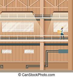 産業, 屋内, 工場, デザイン, 倉庫, 空
