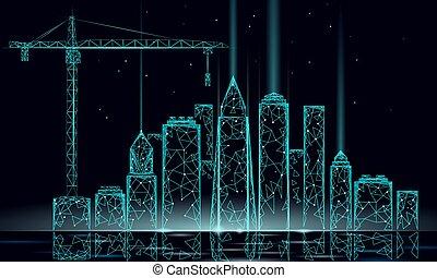 産業, 抽象的, 現代, poly, 高く, 青い空, silhouette., polygonal, 低い, 下に, 幾何学的, 超高層ビル, 都市, ビジネス 実例, 建設, 都市の景観, 建物, technology., ベクトル, crane., 夜, タワー, 3d