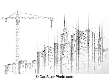 産業, 抽象的, 現代, poly, 高く, silhouette., polygonal, 低い, 下に, 白, 超高層ビル, 都市, ビジネス 実例, 建設, 都市の景観, 幾何学的, 建物, 灰色, technology., ベクトル, crane., タワー, 3d