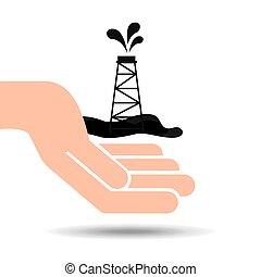 産業, 油田採掘, 手, タワー