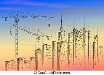 産業, 現代, poly, 高く, ビジネス, 空, sunrise., silhouette., 超高層ビル, 下に, 低い, 都市, カラフルである, イラスト, 建設, 都市の景観, クレーン, 建物, technology., ベクトル, 日没, タワー, 3d