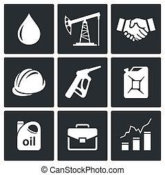 産業, 石油, コレクション, アイコン