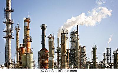 産業, 精製所, 植物, オイル