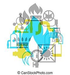 産業, 自然, storage., 生産, ガス, デザイン, 背景, 注入