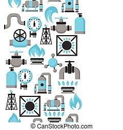 産業, 自然, storage., 生産, ガス, seamless, パターン, 注入