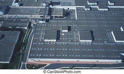 産業, 航空写真, 大きい, 屋根, 複合センター, 光景