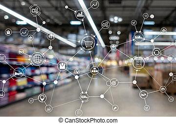 産業, 輸入, エクスポート, バックグラウンド。, concept., ロジスティクス, 単語