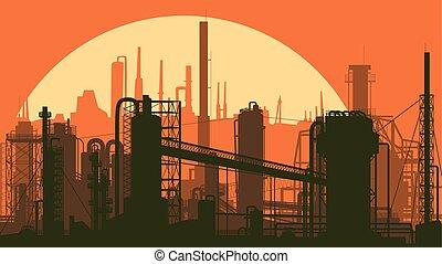 産業, city., イラスト, 定型, 部分, 横