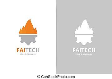 産業, combination., 火, シンボル, トーチ, logotype, ∥あるいは∥, ベクトル, デザイン, 機械工, ロゴ, 炎, icon., 独特, template., ギヤ