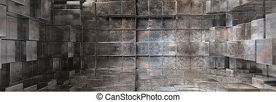 産業, pattern., 金属, イラスト, 形, 立方体, 背景, 手ざわり, 要素, 3d