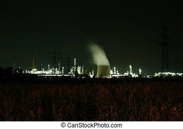 産業, (refinery), 夜