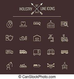 産業, set., アイコン