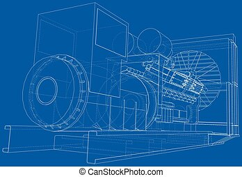 産業, wire-frame, dieasel, 高く, eps10, 電圧, 見えない, separated., ...