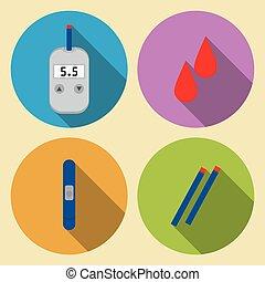 用具のセット, ∥ために∥, モニタリング, 血, グルコース測定器, 血 砂糖, 平ら, デザイン