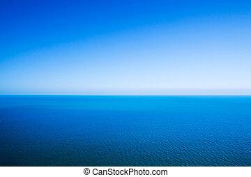 田園詩, 摘要, 背景, -, 地平線線, 在之間, 平靜, 海, 以及, 清楚, 藍色的天空