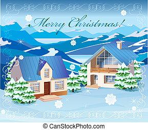 田園, クリスマス, 風景