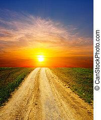 田園, 上に, 日没, 道