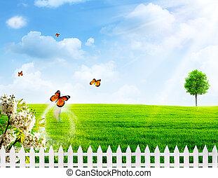 田園, 夏, 抽象的, 背景