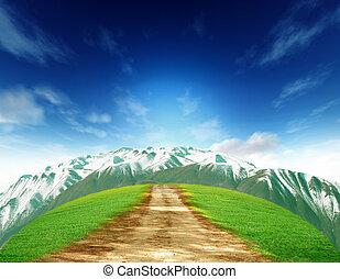 田園, 夏, 風景, ∥で∥, 古い, 道, 山, そして, bluesky