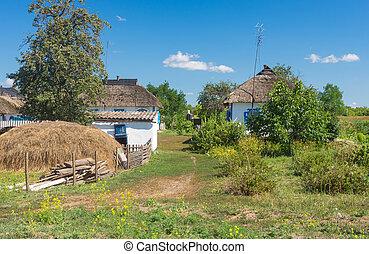田園, 木, わら, 粘土, 囲まれる, 下に, 風景, ナシ, 中, 家, 家屋敷, 屋根