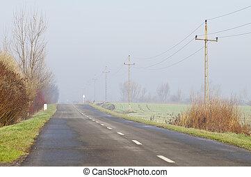 田舎の道路, ∥において∥, 日当たりが良い, 朝