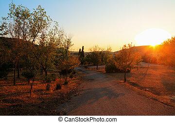 田舎の道路, ∥において∥, 日没