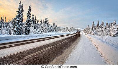 田舎の道路, 中に, 12月