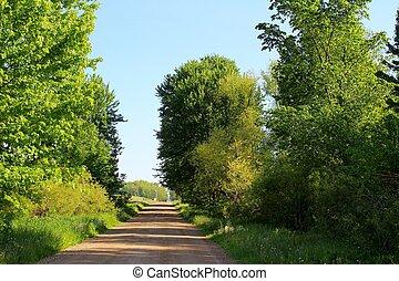 田舎の道路, 歩くこと, 下方に
