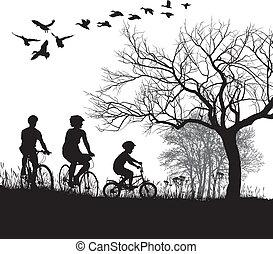 田舎, サイクリング, 家族