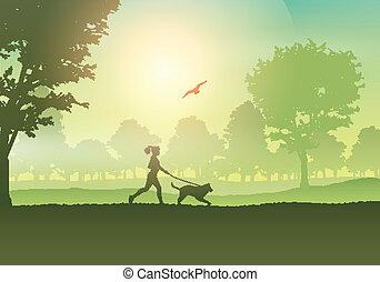 田舎, ジョッギング, 犬, 女性