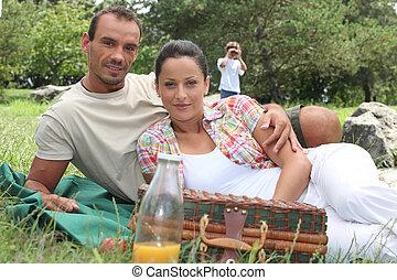 田舎, ピクニック, 家族