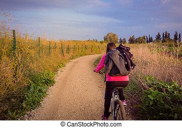 田舎, 乗馬, 女, 自転車