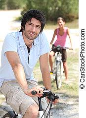 田舎, 乗馬, 恋人, 自転車