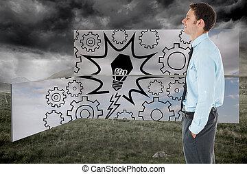 田舎, 地位, 手, 背景, 嵐である, ポケット, ビジネスマン, に対して, 幸せ