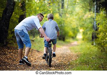 田舎, 息子, 教授, 乗車, 父, 自転車