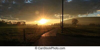 田舎, 日没