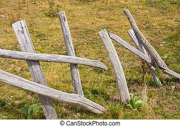 田舎, 木製である, ポーランド人, フェンス, 壊される