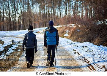 田舎, 歩くこと, 古い, 孫, 人
