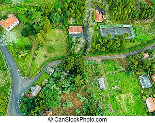 田舎, 田園, 空中写真