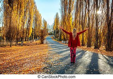 田舎, 秋, 女, 楽しむ