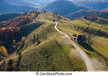 田舎, 秋, 航空写真, 現場, 光景