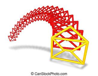 电子邮件, 信封, 符号, 流动, 在中