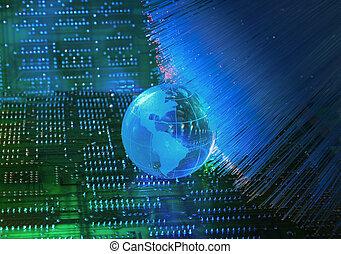 电子, 打印电路板, 带, 技术, 风格, 对, 光学的纤维, 背景