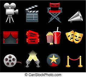 电影, 工业, 电影, 收集, 图标