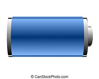 电池, 在中, 蓝色, 颜色, 在上, a, 白的背景