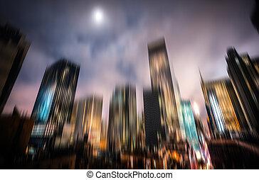 电灯, 照明, 曼哈顿, night., 夜晚