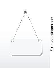 电线, 空白, signboard, 隔离, 钉子, 悬挂, 白色
