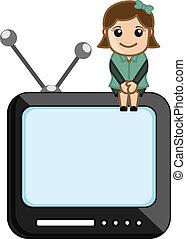 电视, 女孩, 矢量, 监控, 坐