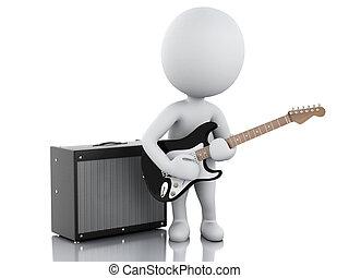 电, 人们, 吉他, 白色, 玩, 3d